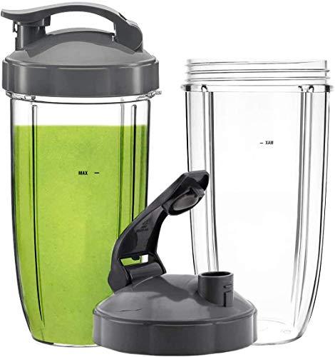Ersatzbecher für NutriBullet Pro 900 W 600 W Entsafter NB-101B NB-101S NB-201, Ersatz-Smoothie-Becher mit Klappdeckel, BPA-frei, 2 Packungen