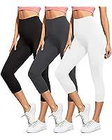 ZOOSIXX High Waisted Capri Leggings for Women - Tummy Control Soft Opaque Slim Workout Yoga Pants