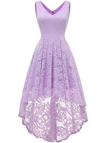 MuaDress 6666 Damen Kleid Ärmellose Cocktailkleider Knielang Abendkleider Elegant Spitzenkleid V-Ausschnitt Asymmetrisches Brautjungfernkleid Lavendel XL