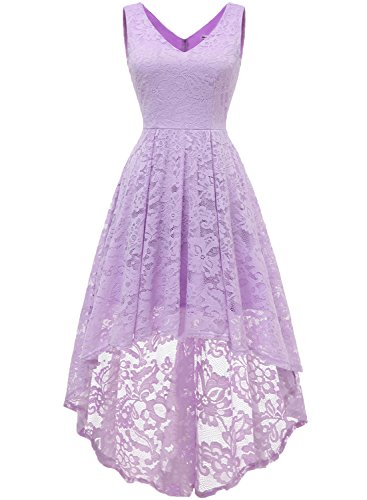 MUADRESS 6666 Women's Sleeveless Hi-Lo Lace Formal Dress Cocktail Party Dress V Neck Lavender XX-Large