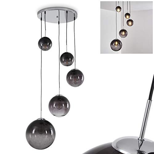Lámpara de techo redonda Degevos, de metal cromado, 5 focos, con pantalla de cristal ahumado, 5 bombillas E27 máx. 40/25 W, altura máx. 120 cm (ajustable), apta para bombillas LED