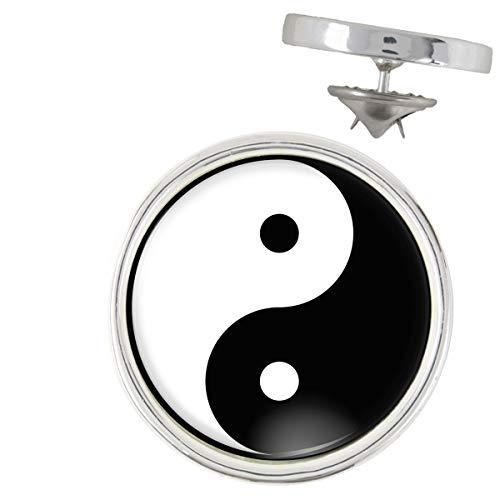 Pin's Argenté 20mm Yin Yang Blanc Noir Harmonie Equilibre Feng Shui Paix Peace Amour Love