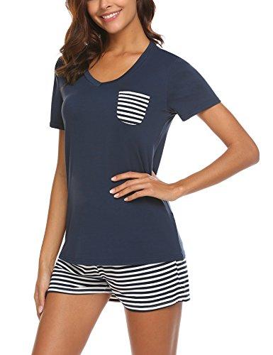UNibelle Damen Schlafanzug Pyjama Shorty Mit Shorts & Shirt Sommerlicher Nachthemd mit Taschen Nachtwäsche Kurzarm Sleepwear, Navyblau, M
