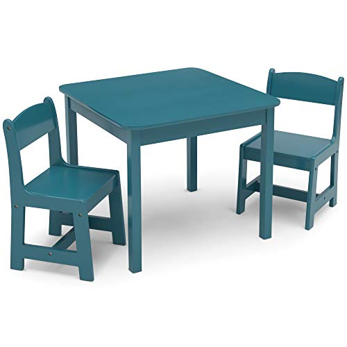 Delta Children MySize Kids Wood Table and Chair Set (2 Chairs Included) - Ideal for Arts & Crafts, Snack Time, Homeschooling, Homework & More, Teal