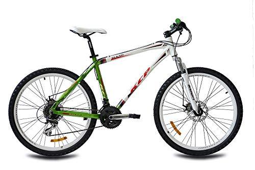 KCP 26 Zoll Mountainbike Hardtail - Pulse Weiss grün - Mountain Bike mit 24 Gang Shimano Acera Kettenschaltung - MTB Fahrrad für Herren und Damen mit Federgabel