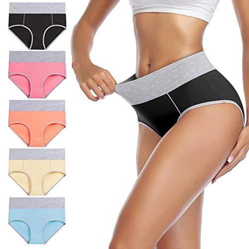 wirarpa Women's Cotton Underwear High Waist Briefs Ladies Soft Breathable Panties Full Coverage Underpants 5 Pack Medium