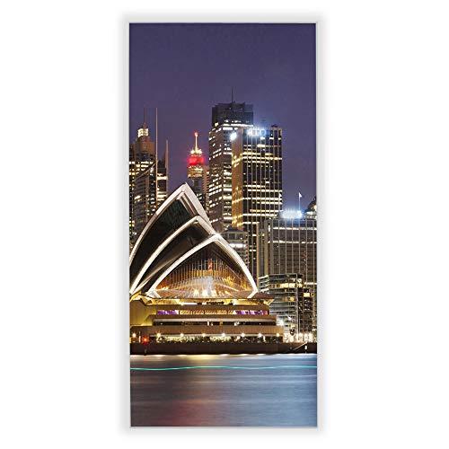 Banjado Wechselscheibe für IKEA GYLLEN Wandlampe | Glasscheibe für Wandleuchte 56x26cm | Echtglas Motiv Sydney | Hochformat