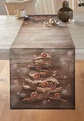Dekoleidenschaft Tischläufer Winterzeit, braun, 40x140 cm, Tischband, Mitteldecke