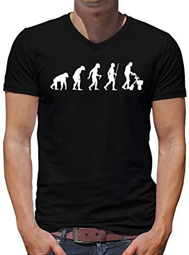 TShirt-People Evolution Rollator V-Kragen T-Shirt Herren Oma Spass Fun Nerd M Schwarz