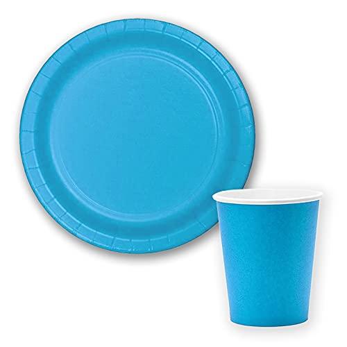 Vajilla biodegradable de Cumpleaños. Set de Platos y Vasos para Fiestas, Reuniones, Camping, Picnic. Juego de Platos y Vasos para Cumpleaños. Decoración Cumpleaños. Vajillas Ecológicas. (Azul Claro)