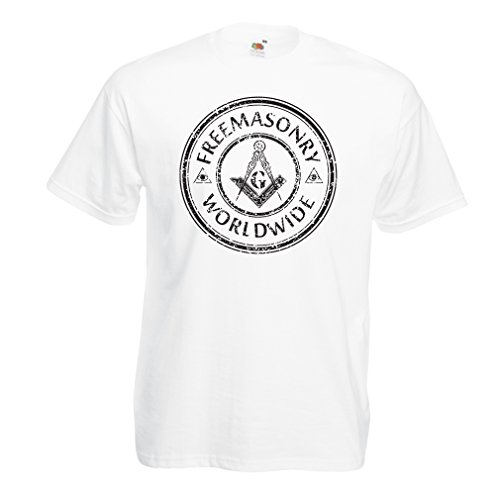 """T-Shirt pour Hommes """"Franc-maçonnerie dans Le Monde"""" Les Outils Francs-maçons Boussole carré (X-Large Blanc Multicolore)"""