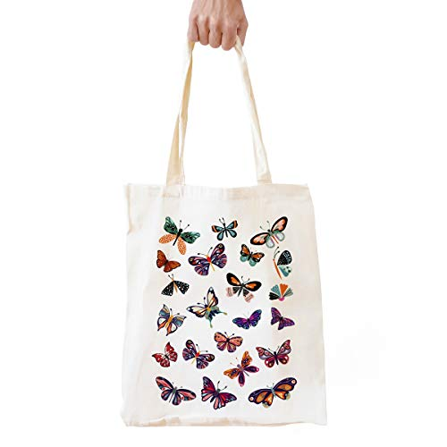 Cute Butterfly Theme Natural Cotton Reusable Tote Bag | Cute Butterfly Print Eco-Friendly Cotton Tote Bag School/Shopping/Shoulder Bag Gifts for Girls/Women/Men/Friends