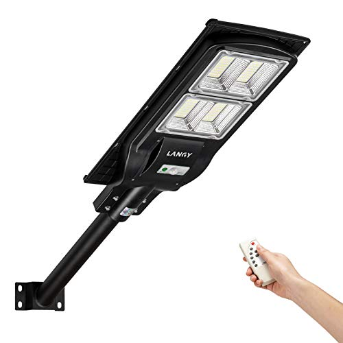 LANGY 120 Watts Solar Street Light,240PCS LED, 18000 mAH Battery, High Lumens LED Solar Power Street Lamp Outdoor Dusk to Dawn for Parking Lot, Yard, Garage and Garden