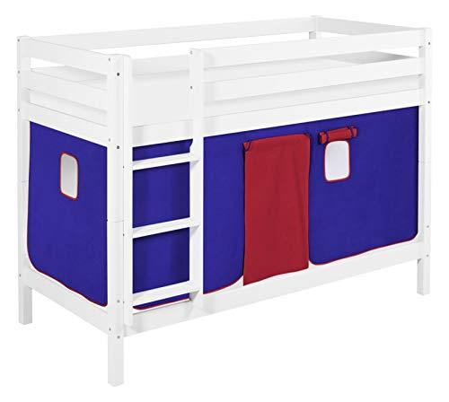 Lilokids Lits superposés JELLE certifié TÜV & GS Bleu/rouge – Lit mezzanine blanc – avec rideau et sommier à lattes
