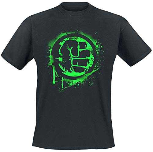 Hulk Fist Symbol Männer T-Shirt schwarz L 100% Baumwolle Fan-Merch, Film, Marvel Comics, Superhelden