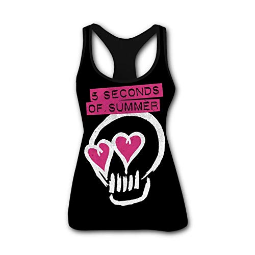 TANtankk 5Sos-Skull Lover Fashion Women's Waistcoat Tank Top Sleeveless T-Shirt Vest Tee Summer Black