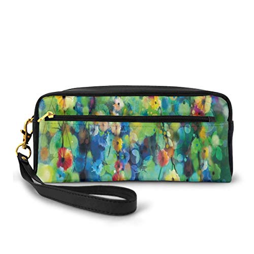 Pencil Case Pen Bag Pouch Stationary,Vibrant Colored Blooms Clusters Down from Branch Spring Season Birth Season Image,Small Makeup Bag Coin Purse