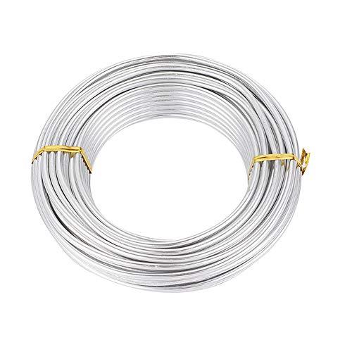 PandaHall - Alambre de aluminio plateado de 53 pies, 4 mm, alambre para manualidades de metal para manualidades, fabricación...