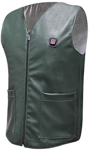 CHNDR Elektrische verwarming vest/jas, warm lichaamsvest met USB-kabel - voor kamperen en ski's (unisex/groen), XXXL