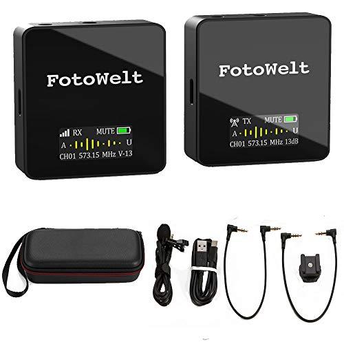 Fotowelt AIR 36 Kanäle UHF Wireless Lavalier Mikrofon System Eingebauter Akku Wireless Mics Kompatibel für Canon Nikon Sony Panasonic D/SLR-Kamera, XLR-Camcorder & Smartphone (70m-229foot)