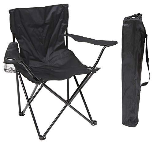 Silla Plegable Negro DE Camping Ligera - Silla Exterior Ideal para IR de Acampada, de Picnic o de Pesca con portavasos …