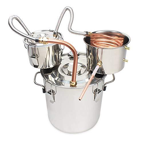 BACOENG 5Gal/20L Moonshine Still Spirits Water Alcohol Distiller Copper Tube Home Brew Wine Making Kit Stainless Steel Boiler
