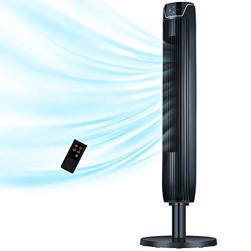 Tower Fan with Remote, 42 Inch Quiet & Powerful Oscillating Portable Fan with LED Display and Timer, Built-in Cooling 3 Modes and Speed Settings, Stand Up Floor Fans Safe for Whole Room and Office Use
