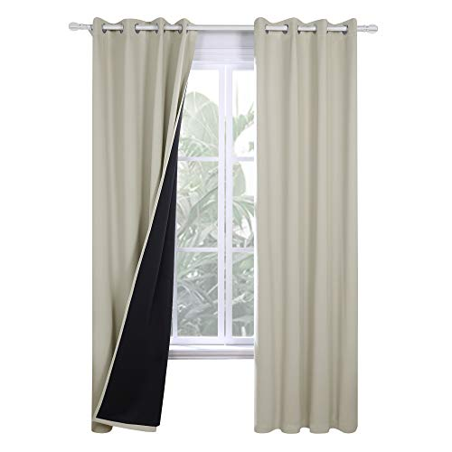 Deconovo Grommets Total Blackout Curtains 84 inches Long for Living Room with Black Liner Thermal Insulated Noise Cancelling Window Curtains, 2 Pieces, Each 52x84 in, Light Beige