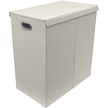 Sorbus Laundry Hamper Sorter with Lid Closure – Foldable Double Hamper, Detachable Lid and Divider, Built-in Handles for Easy Transport - Double (Beige)