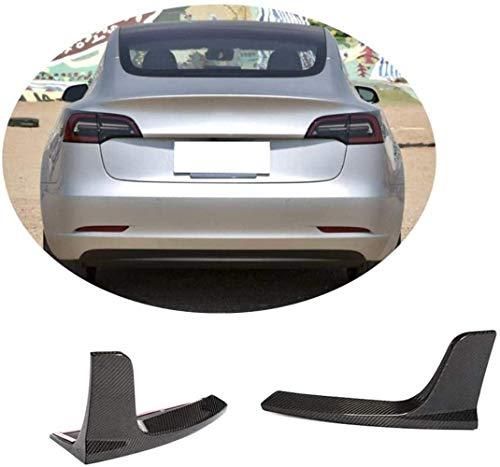 XOBO Divisor de difusor Trasero para Tesla Model 3 Sedan 2016-2019 Fibra de Carbono CF Alerones de Labios de Parachoques Inferiores Cubierta de ventilación Cupwings Flaps Spoiler Body Kit