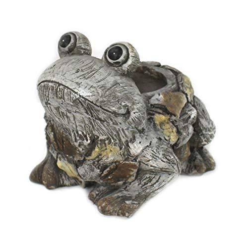 DARO DEKO Tier Figur in Stein-Optik Frosch mit Pflanz-Gefäß 27 x 25cm
