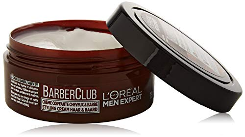 L'Oréal Men Expert - BarberClub - Crème Coiffante Cheveux & Barbe pour Homme - À l'Huile Essentielle de Bois de Cèdre - 75 ml