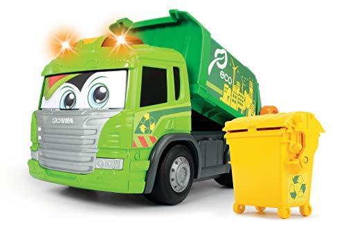 Dickie Toys Happy Series - Camión de Basura Motorizado Scania, con Cubo, Luz, Sonido y Plataforma Móvil, para Niños a partir de 2 Años - 25 cm