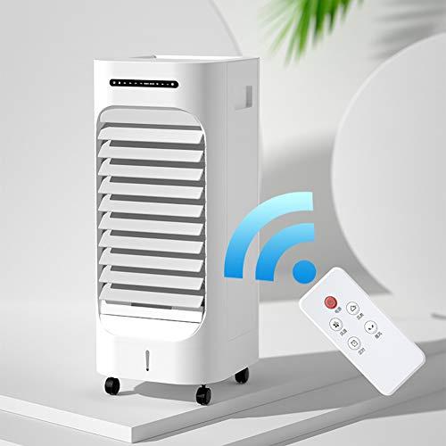 YB&GQ Ventilador de aire evaporativo portátil para interiores y exteriores y exteriores con mando a distancia, ventilador de refrigeración de aire con 3 velocidades, tanque de agua de 2,5 l blanco