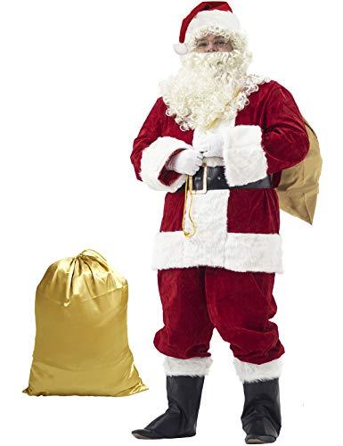 Ahititi Trajes de Papá Noel para Hombres, Conjunto de Disfraces de Navidad de Terciopelo de Lujo para Adultos (10 pcs) L