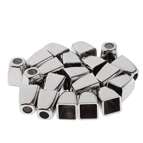 joyMerit 20 Pcs Metall Kordelstopper, Kordelendstücke, Schnur Stopper, Endstücke - 13 x 8 mm - Silber