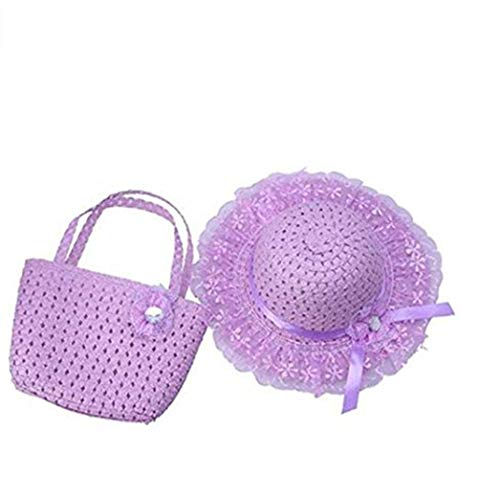 Jiuhexu Kids Straw Sun Hat Handbag Sets Children Beach Caps Prop Outfit 9Colors (Purple)