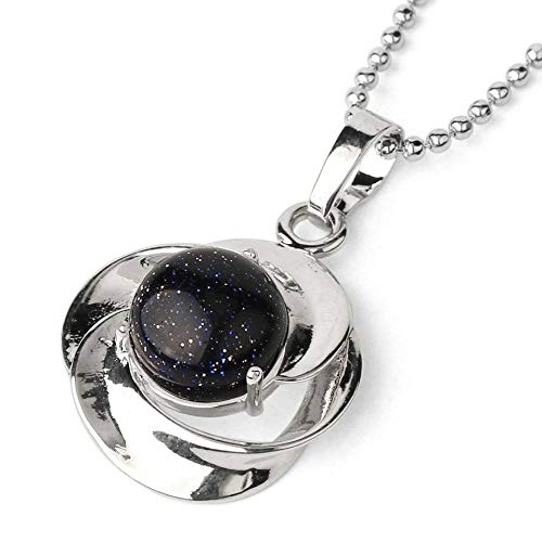 QUWE Stone Necklace,Vintage Elegant Blue Sand Satellite Series Pendant Silver Unisex Bead Chain Men Women Energy Balance Birthstone Gem Jewelry Gifts