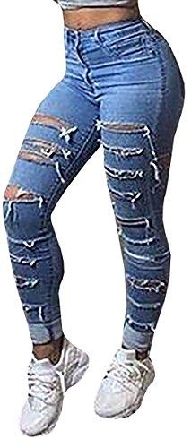 Baifern Women's Ripped Washed Hole Denim Long Jeans, Blue, Medium