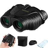 12x25 Binoculars with Low Light Night Vision, ENHOOTA Waterproof Large Eyepiece Binoculars for Adults & Kids, Compact Easy Focus Binoculars for Bird Watching, Hunting, Outdoors Travel, Sightseeing
