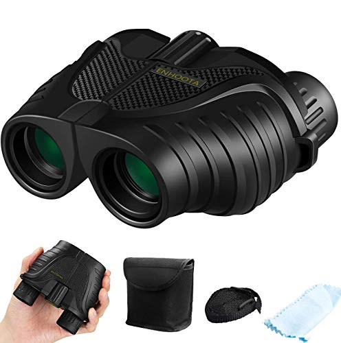 12x25 Binoculars with Low Light Night Vision, ENHOOTA Waterproof Large Eyepiece Binoculars for Adults & Kids, Compact Easy Focus Binoculars for Bird Watching, Hunting, Outdoors Travel, Sightseeing