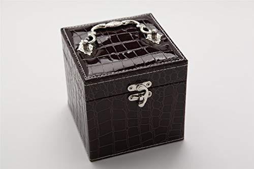 Yeying123 Tragbare Krokodilleder Reisen Schmuckschatulle dreischichtigen Schmuck Geburtstagsgeschenk Schmuck Aufbewahrungsbox,Brown