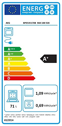 AEG BPE535170B Horno Multifunción, Limpieza Pirolítica, 10 funciones, 45 programas, Conectividad WiFi, 3 niveles Cocción, Mandos escamoteables, Pantalla LED explore táctil, Negro, Clase A+, 71 Litros