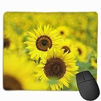 太陽 ひまわり 花柄 マウスパッド 運びやすい オフィス 家 最適 おしゃれ 耐久性 滑り止めゴム底付き 快適操作性 30*25*0.3cm
