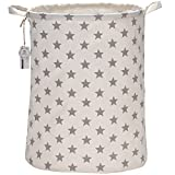 Sea Team 19.7 inch Large Sized Waterproof Coating Ramie Cotton Fabric Folding Laundry Hamper Bucket Cylindric Burlap Canvas...