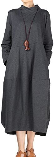 Mordenmiss Women s Autumn Turtleneck Long Baggy Dress with Pockets M Gray product image