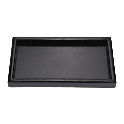 Vassoio da tè in legno rettangolare nero, vassoio di servizio ristorante, vassoio in legno massello per snack da caffè(22 * 12 * 2cm)