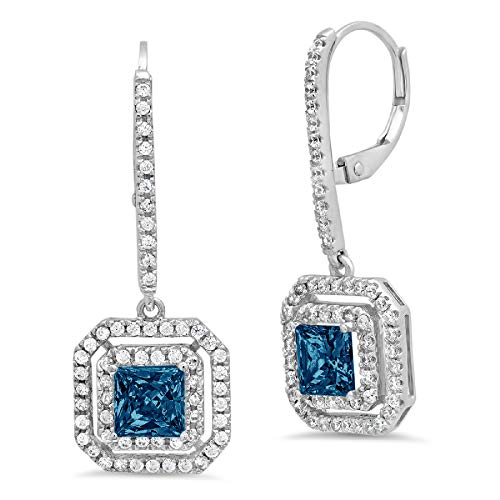 3.27CT Princess Round Cut Double Halo Solitaire Natural London Blue Topaz gemstone Designer Lever back Drop Dangle Earrings Solid 14k White Gold