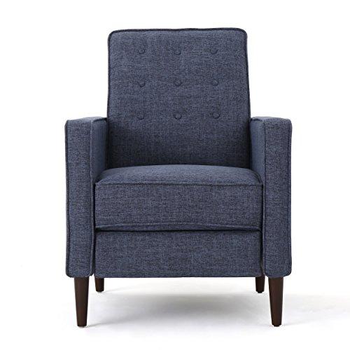 Christopher Knight Home Mervynn Mid-Century Modern Fabric Recliners, 2-Pcs Set, Dark Blue