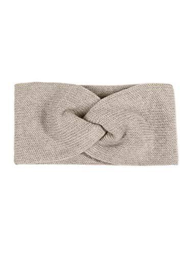 Zwillingsherz Stirnband mit Zopf-Knoten - Hochwertiges Strick-Kopfband für Damen Frauen Mädchen - Kaschmir - Ohrenschutz - Haarband - warm weich und luftig für Frühjahr Herbst und Winter - hbg